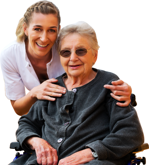 portrait of caregiver and senior woman in a wheelchair